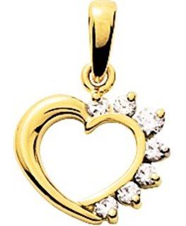 Pendentif Or Jaune 750/1000 Coeur avec Oxyde de Zirconium