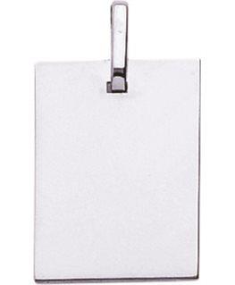 Pendentif Laique Or Gris 750/1000 Plaque Rectangulaire