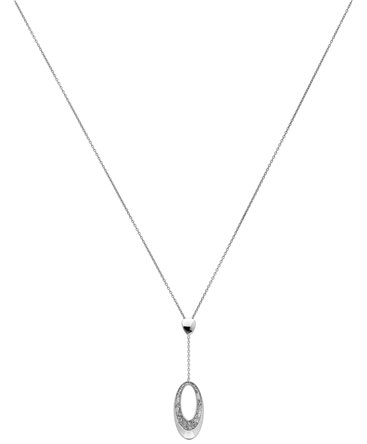 COLLIER OR GRIS 750-000 PEND OVALE PAILL
