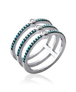 Bague Argent anneaux empierrés Oxydes de Zirconium Pierres Bleues