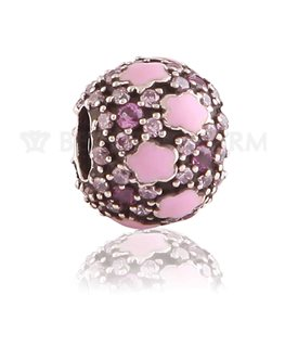 BEAUTY CHARMS ARGENT BOULE PIERRES ROS+FUS+