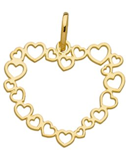 Pendentif Or Jaune 375-000 Coeur en Suite De Coeurs