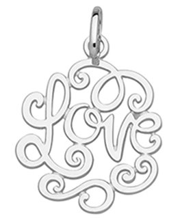 Pendentif Or Gris 375-000 Arabesque LOVE