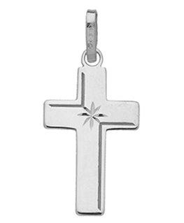 Pendentif Croix Or Gris 750/1000 Diamantée + Etoile