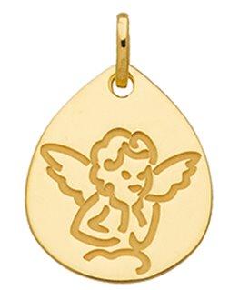 Médaille Or Jaune 375-000 Forme Goutte Chérubin