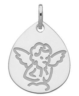 Médaille Or Gris 375-000 Forme Goutte Cherubin