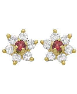 Boucles Puces Or Jaune 375/1000 Fleur Rubis+ Oxyde de Zirconium
