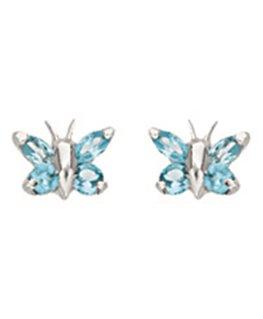 Boucles Puces Or Gris 750/1000 Papillon + 4 Oxyde de Zirconium Turquoise