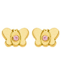 BOUCLES OR 750-000 PAPILLON OZ ROSE VIS