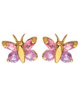 Boucles Puces Or Jaune 750/1000 Papillon + 4 Oxydes de Zirconium Roses