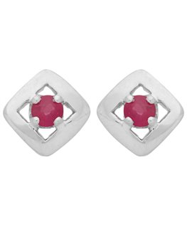 BOUCLES OR GRIS 375-000 CARREE RUBIS