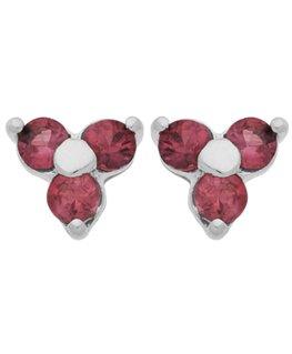 Boucles Puces Or Gris 375/1000 Fleur + 3 Rubis
