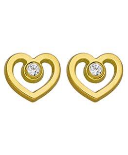 Boucles Puces Or Jaune à Vis Coeur + Oxyde de Zirconium