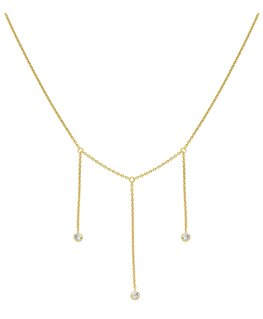 Collier Or Jaune 375-000 3 Oxydes de Zirconium Pendants