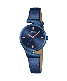 Montre LOTUS Dame Bracelet Cuir Bleu Cadran Fond Bleu Cuivré
