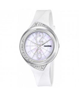 Montre CALYPSO Dame Bracelet Blanc Fond Blanc + Cristaux