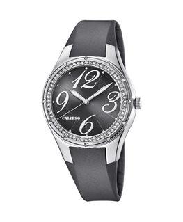 Montre CALYPSO Dame Bracelet Silicone Gris Foncé Cadran Fond Noir et Argenté