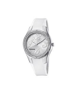 Montre CALYPSO Dame Bracelet Silicone Blanc Cadran Strass Fond Argenté et Blanc