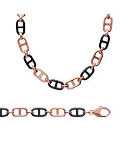 Bracelet Plaqué Or Maille Marine + Céramique Noire