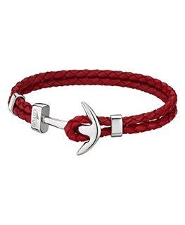 Bracelet Acier Lotus Homme Bracelet Tressé Rouge Ancre Argent