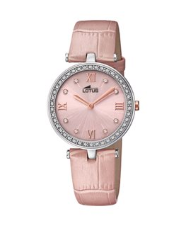 MONTRE LOTUS DAME CUIR ROSE FOND ROSE CL
