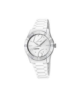 Montre CALYPSO Dame Bracelet Silicone Blanc Cadran Fond Blanc Cuivré