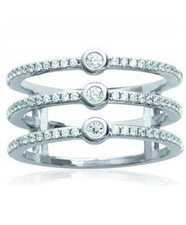 Bague Argent anneaux empierrés Oxydes de Zirconium