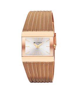Montre ELIXA BEAUTY Dame Bracelet Acier Plaqué Or Rose Cadran Rectangulaire