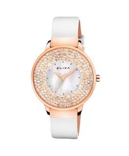 Montre ELIXA FINESSE Dame Bracelet Cuir Blanc Cadran Plaqué Or Fond Cristaux