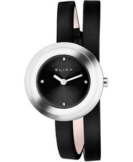 Montre ELIXA FINESSE Dame Bracelet Cuir Noir Cadran Argenté Fond Noir