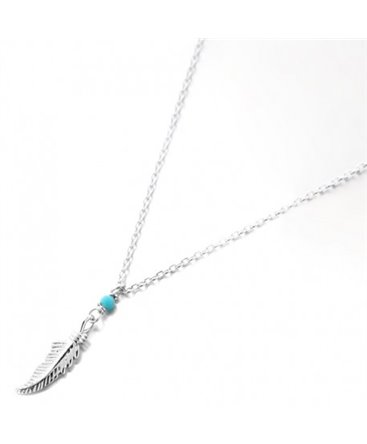 COLLIER ARGENT PLUME TURQUOISE SYNTH
