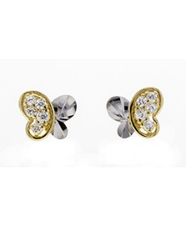 Boucles Puces Or Jaune 375/1000 Papillon Bicolore + Oxyde de Zirconium