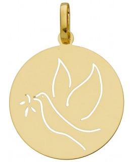 Médaille Baptême Or Jaune 750/1000 Republicain Colombe