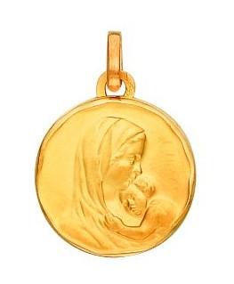 Médaille Or Jaune 750/1000 Vierge Marie et l'Enfant