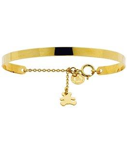 Bracelet Rigide Or Jaune 375/1000 Pampille Ours Lulu Castagnette