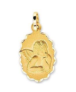 Médaille Or Jaune 375-000 Ange Plaque Ovale Diamantée