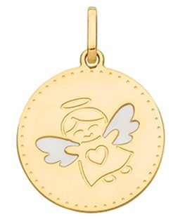 MEDAILLE OR JAUNE ANGE AILES BLANCH COEU