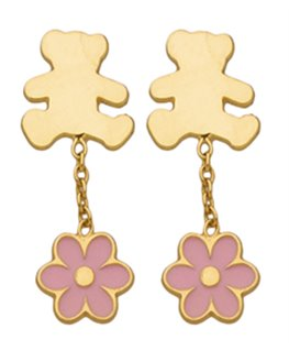 Boucles Pendantes Or Jaune 375/1000 LLuLu Castagnette + Fleur Rose