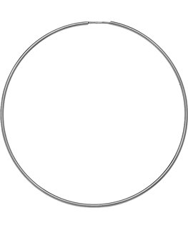 Créoles Or Gris 375/1000 Flexible Fil Rond 1mm - Diamètre 50mm