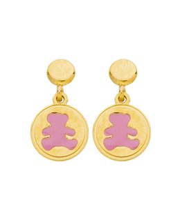 Boucles Or Jaune 375/1000 Ourson Rose LuLu Castagnette