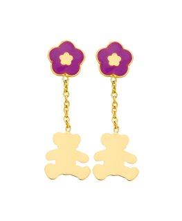 Boucles Pendantes Or Jaune 375/1000 Fleur Violette Ours LuLu Castagnette