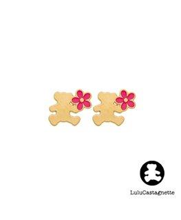 Boucles Puces Or Jaune LuLu Castagnette Ours Fleurs Rose