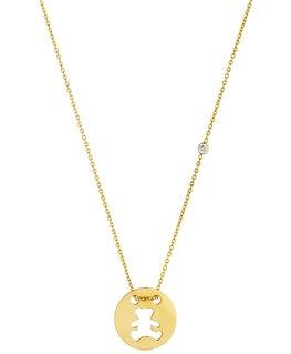 Collier Or Jaune 375-000 Medaille Ourson Lulu Castagnette Oxyde de Zirconium
