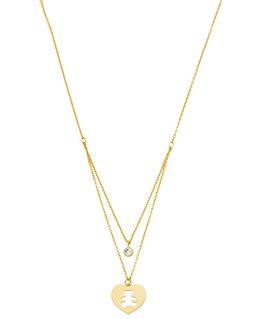 Collier Or Jaune 375-000 Coeur Lulu Castagnette Oxyde de Zirconium