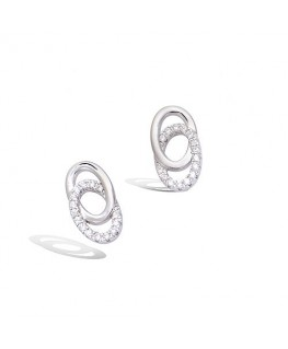 Boucles Argent Rhodié Doubles Cercles Oxydes de Zirconium