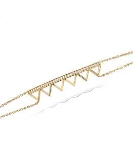 Bracelet Plaqué Or Triangles + Oxyde de Zirconium