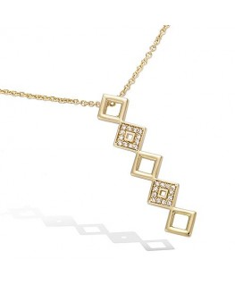 COLLIER PLAQUE OR 5 CARRES OXYDES BLANCS