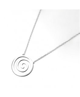 Collier Argent Rhodié Pendentif Spirale