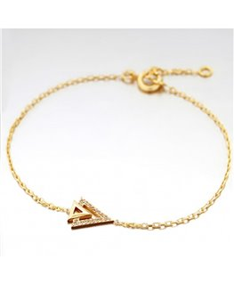 Bracelet Plaqué Or 2 Triangles+ Oxyde de Zirconium