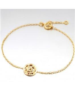 Bracelet Plaqué Or Fleur Sur Cercle
